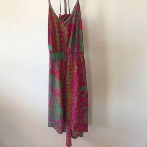 Charlie Jade pink and turquoise hi lo dress